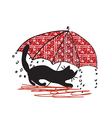 Cat and umbrella - bad weath vector image