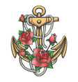 anchor with rose flowers vector image vector image