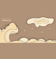 background with brown color paper cut shapes 3d vector image