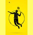badminton player action cartoon graphic vector image