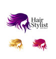 beauty salon logo set template vector image