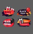 black friday promo labels color balloons vector image
