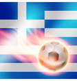 Burning football on Greece flag background vector image vector image