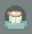 carnival instrument musical drum and sticks retro vector image vector image