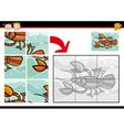 cartoon crayfish jigsaw puzzle game vector image