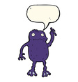 cartoon poisonous frog with speech bubble vector image vector image