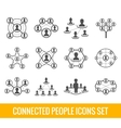 Connected people black icons set vector image vector image