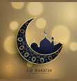 crescent moon and mosque with floral decoration vector image vector image