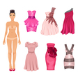 dress-up doll with pink dresses vector image