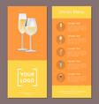 drinks menu advertisement poster with champagne vector image vector image