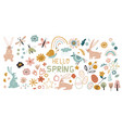 easter icons big collection flowers leaves vector image