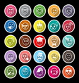 Face action line flat icons with long shadow vector image