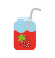 glass jar of juice strawberry with straw beverage vector image vector image