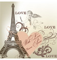 greeting valentine card with detailed eiffel tower vector image