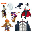 happy halloween characters and objects 3d set vector image