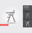 high chair for feeding baby line icon with vector image vector image