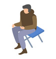 migrant man on camp chair icon isometric style vector image