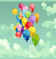 painted multicolored balloons flying in the sky vector image vector image