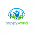 people happy world logo vector image vector image