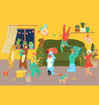 people in costumes at carnival home party room vector image