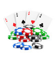 playing cards near stack casino 3d chips vector image