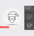 santa claus line icon with editable stroke vector image vector image