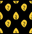 seamless foliage pattern golden leaf on black vector image vector image