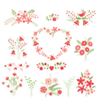 Set of flower design elements vector image vector image