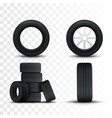 set of tires and car wheels template vector image vector image