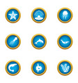 shrimp icons set flat style vector image vector image