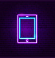 tablet gadget neon label vector image