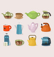 teapots kettles and cups vector image