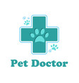 the logo of the pharmacy for the animals cross vector image
