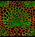 tropical palm leaves jungle on leopard fur vector image