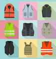 vest waistcoat jacket suit icons set flat style vector image