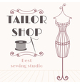 Vintage iron mannequin with sewing icon vector image