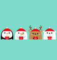 white bear snowman raindeer deer penguin face vector image