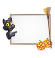 witch cat halloween sign vector image vector image