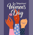 woman s hand with her fist raised up girl power vector image vector image
