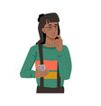 woman with smartphone in hands thoughtful face vector image vector image