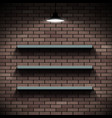 empty shelves on a background of a brick wall vector image