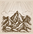 mountains and rocks against the sky with clouds vector image