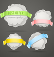 Abstract speech clouds with color ribbons vector image