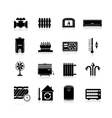 Heating Icons Black Set vector image
