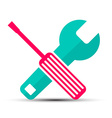 Screwdriver and Wrench Flat Design Retro Icons vector image