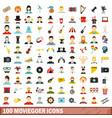 100 moviegoer icons set flat style vector image
