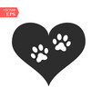 a white animal pawprint in a black heart on white vector image vector image