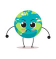 angry earth character cartoon mascot globe vector image