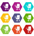 baby carriage tricycles icons set 9 vector image vector image