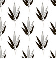 black seamless pattern with drawn bamboo vector image vector image